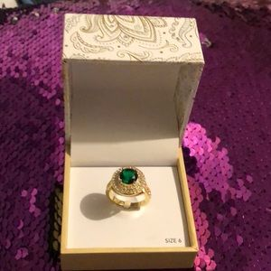 Charter Club Faux Gold Emerald Pave Halo Ring